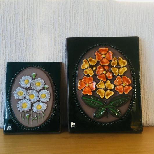 Jie Gantofta/ジィガントフタ/陶板/オレンジのお花柄、マーガレットのお花柄/2枚セット