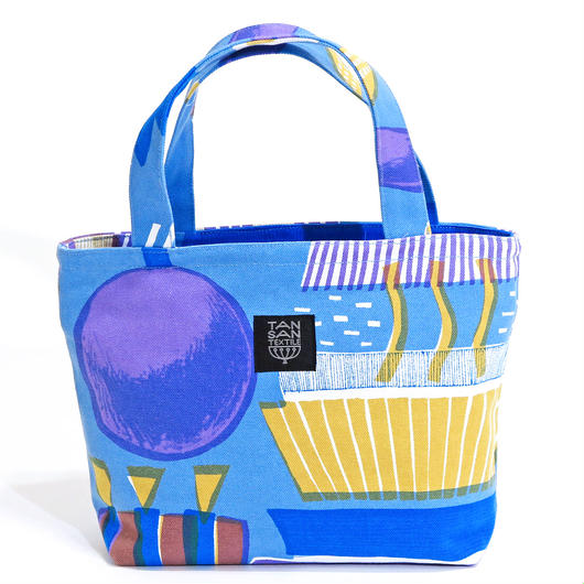 mini tote BAG 「ランプフラワー」 blue