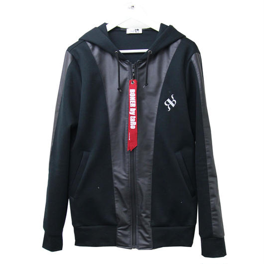 RONER lether combi double-knit  hoody BLACK