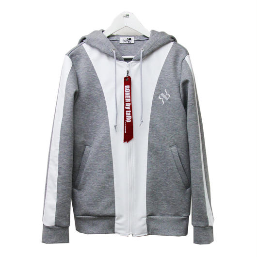 RONER lether combi double-knit  hoody  WHITE