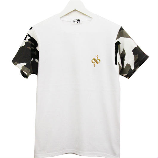 "RONER  camouflage sleeve T-shirt  WHITE ""Special Edition"""