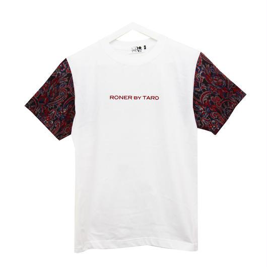 RONER Jacquard Paisley sleeve T-shirt WHITE