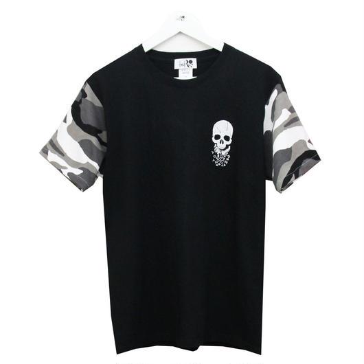 RONER  camouflage sleeve T-shirt  BLACK