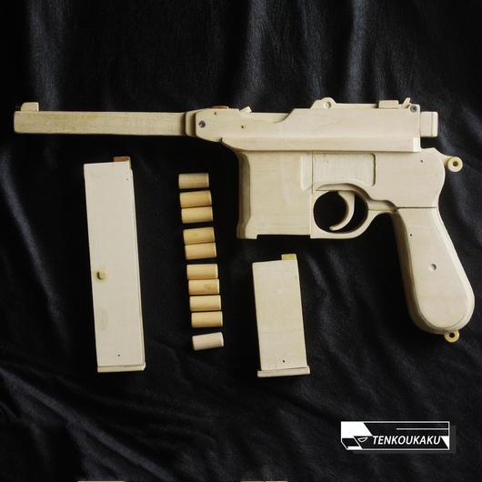 ブローバックする輪ゴム銃(排莢機能付)・モーゼル  タイプ