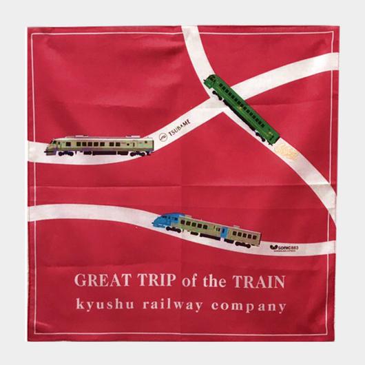 3列車バンダナ(ゆふいんの森・つばめ・ソニック883)【復刻版】赤 【 TE018】