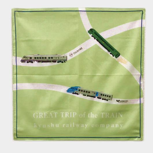 3列車バンダナ(ゆふいんの森・つばめ・ソニック883)【復刻版】緑 【 TE019】