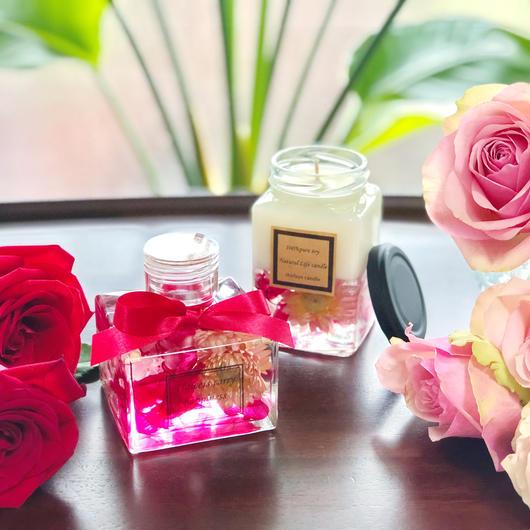 【2点セット】オーガニックアロマsoyキャンドル&ハーバリウム ~花のカシスflowers 〜