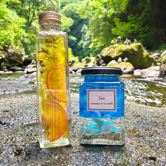 夏の碧 オレンジハーバリウム&アロマキャンドル2点セット