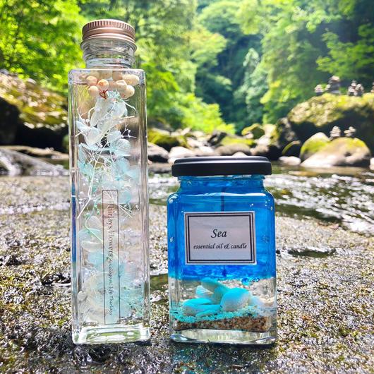 【夏限定福袋】海と空の蒼い夏 ハーバリウム&アロマキャンドル2点セット