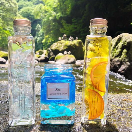 【夏限定福袋】涼やかな夏のギフトセット ハーバリウム2本&アロマキャンドルの3点セット