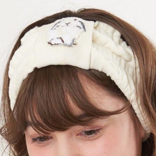 【ラビット刺繍 パイル ヘアバンド】A40591-772