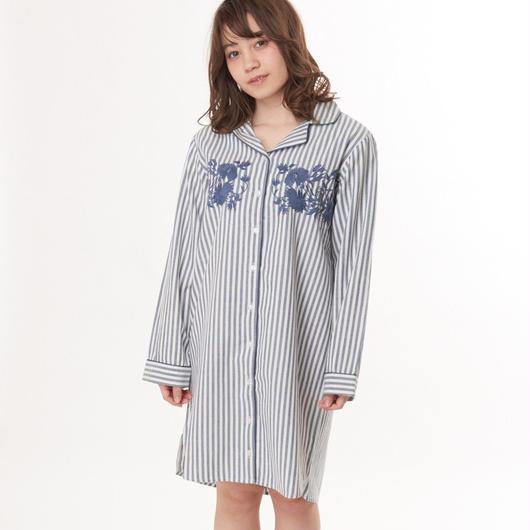 綿100%【エンブロイダリーシャツワンピース】P91499-741