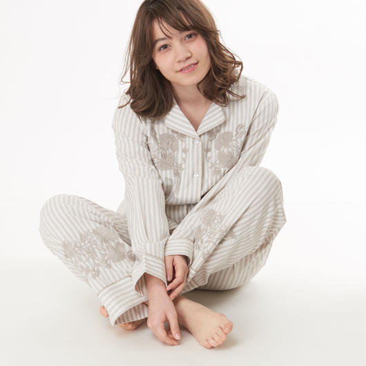 綿100%【エンブロイダリーシャツ上下セット】P91500-741