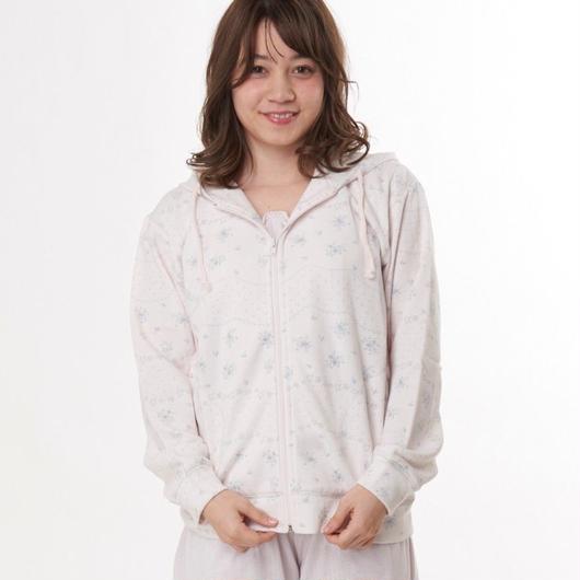 綿混【フラワーボーダー裏毛スエットパーカー】P91345-704
