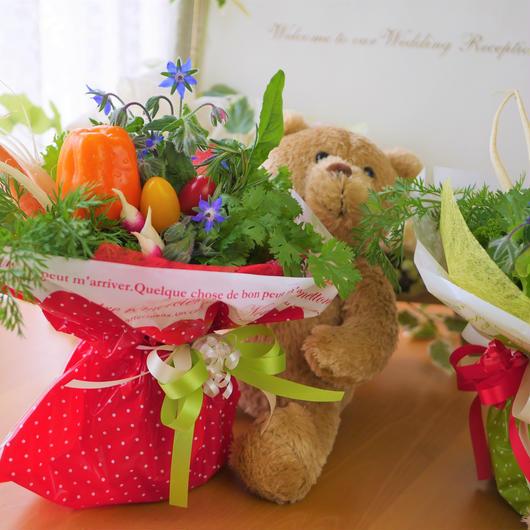 結婚披露宴でご両親に贈る野菜ブーケ(新郎新婦様ご両家分として2個セット)(クール便送料無料)