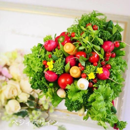 あなたの大切な方のお祝い・ギフトにおすすめ!可愛いハート形の野菜ブーケ※スタンド無し