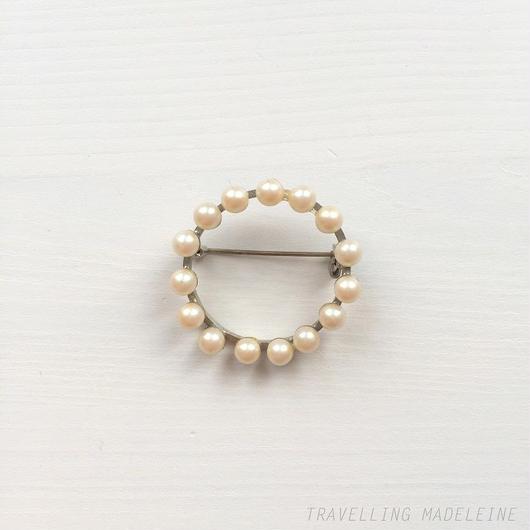パール サークル ブローチ Pearl  Circle Brooch (A18-161B)