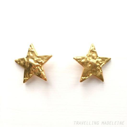 ゴールド ビッグスター クリップイヤリング Gold Big Star Clip Earrings (Sp18-38E)