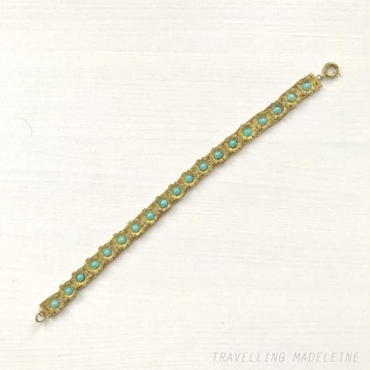 Turquoise & Gold Flower Bracelet ターコイズ & ゴールド フラワー ブレスレット(W18-122Br)
