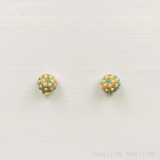 Turquoise & Pearl Round Clip Earrings ターコイズ & パール ラウンド クリップイヤリング(W18-240E)