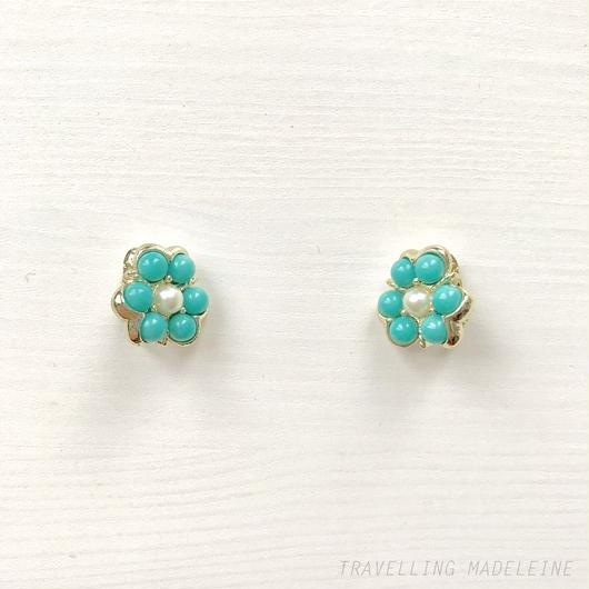 SARAH COVENTRY Turquoise & Pearl Flower Clip Earrings ルーサイトターコイズ & パール フラワー クリップイヤリング(W18-78E)