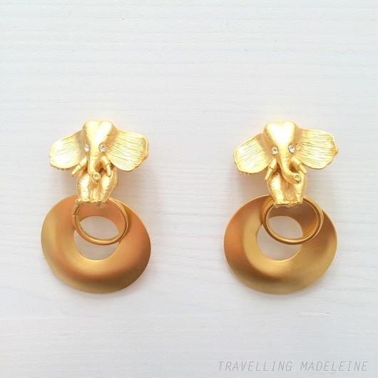 ゴールド エレファント & リング クリップイヤリング Gold Elephant & Rings Clip Earrings (A18-90E)