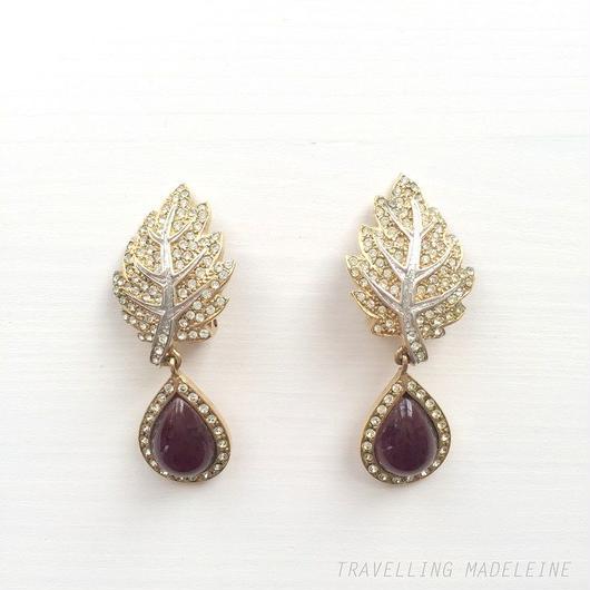 ラインストンリーフ&紫ドロップ クリップイヤリング Rhinestone Leaf & Purple Drop Clip Earrings (Su18-3E)