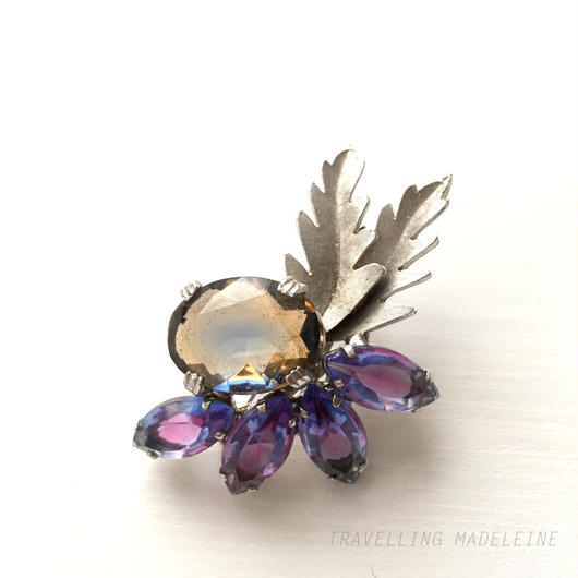 Continental コンティネンタル 茶色&紫グラス シルバーリーフ ブローチ  Brown&Purple Glass & Silver Leaf Brooch (W17-151B)