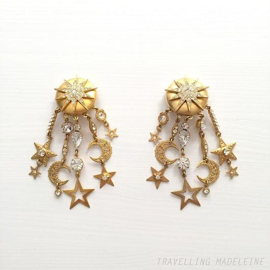 Askew ゴールド 星 月 フィリグリー タッセル クリップイヤリング Gold Star Sun Moon Filigree Tassel Clip Earrings(W18-69E)
