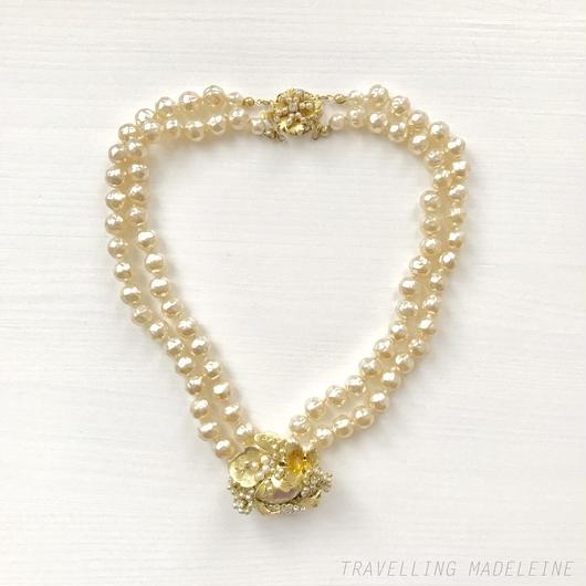 Pearl Necklace with Gold Leaf & Sead Pearl ゴールドリーフ & シードパール パールネックレス(W18-246N)