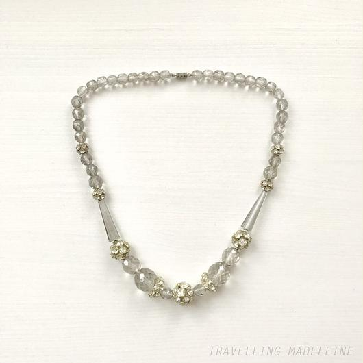 Gray Glass and Rhinestone Ball Necklace グレーグラス & ミラーボール ネックレス(W18-211N)