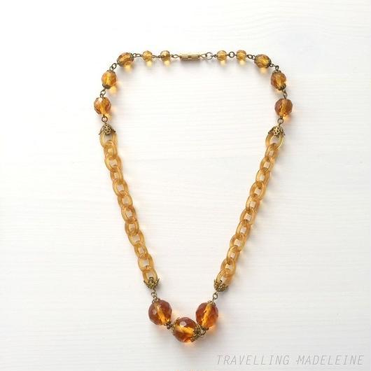 琥珀色 チェコグラスチェーン ネックレス Amber Colour Czech Glass Chain Necklace (Su18-33N)