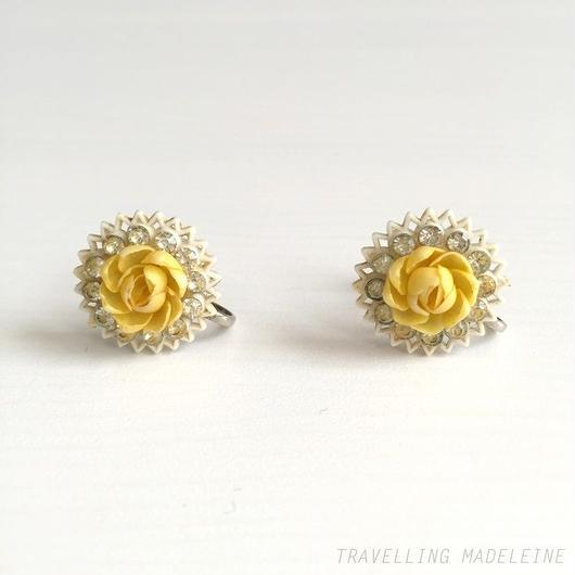 黄バラ スクリューイヤリング Yellow Rose Screw Earrings (Sp18-23E)