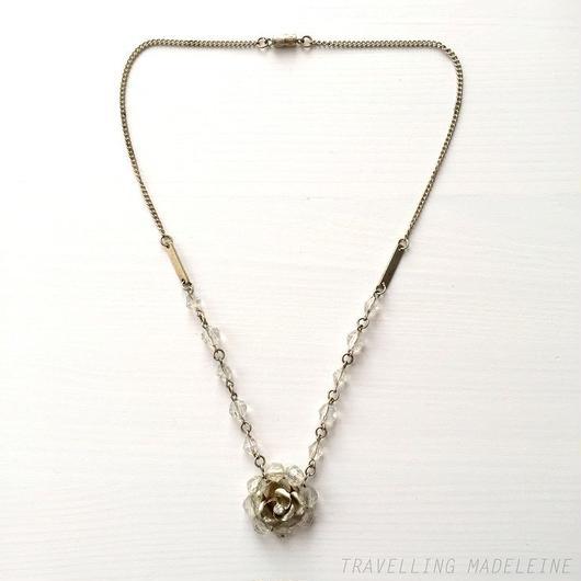 アールデコ シルバーローズ&クリアグラスビーズ ネックレス Art Deco Silver Rose Clear Glass Beads Necklace (Su18-1N)