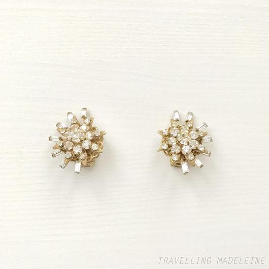 MIRIAM HASKELL Rhinestone Star Clip Earrings ラインストーン スター クリップイヤリング(W18-296E)
