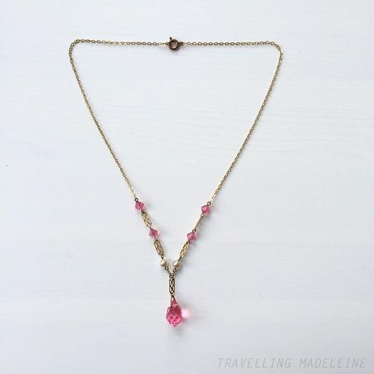 アールデコ ピンクドロップグラス & パール ネックレス Art Deco Pink Drop Glass & Pearl Necklace (Su18-272N)