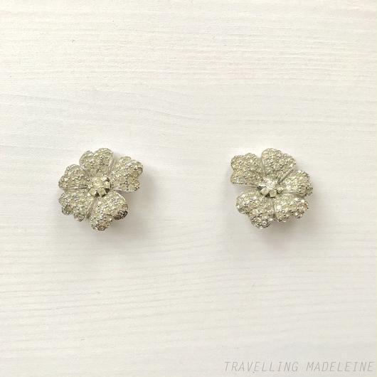 JOSEPH MAZER Rhinestone Flower Clip Earrings ラインストーン フラワー クリップイヤリング(W18-133E)