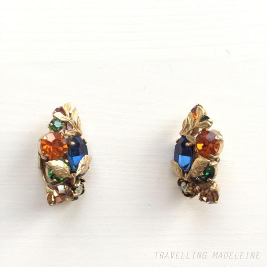 Jewelcraft カラフルビジュー ゴールドリーフ クリップイヤリング Colourful Bijoux & Gold Leaf Clip Earrings (Sp18-16E)