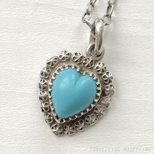 CHARLES HORNER Silver & Turquoise Heart Necklace シルバー & ターコイズ ハート ネックレス(W18-215N)