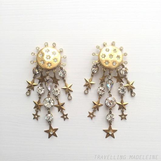 Askew ゴールド & ストーン 星 タッセル クリップイヤリング Gold & Rhinestones Stars Tassels Clip Earrings (Su18-363E)