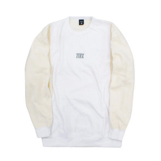 [TREKKIE TRAX × THE TEST] Fleece Crewneck Tops (White)