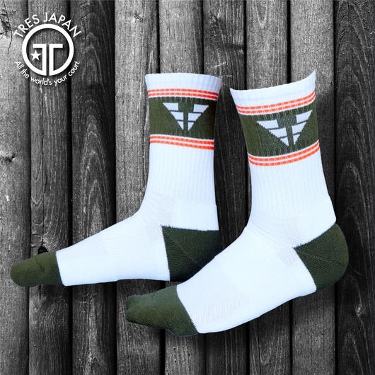【TRESJAPAN】BASKET SOCKS  WING T(カーキ)