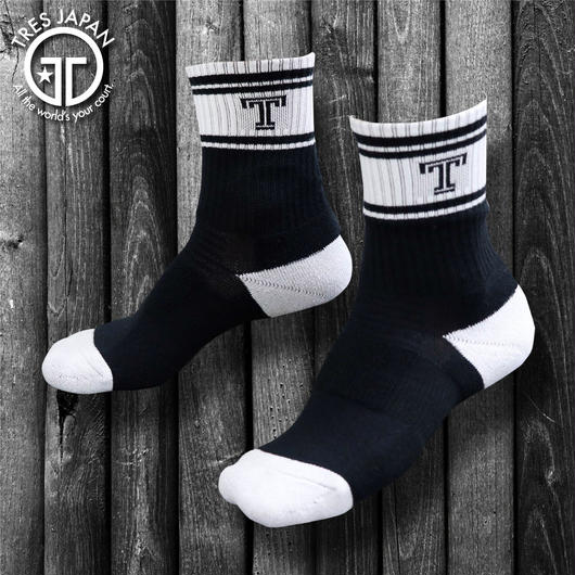 【TRESJAPAN】BASKET SOCKS  Tロゴ(ストレート)