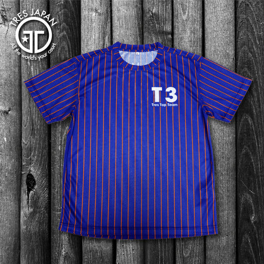 【TRESJAPAN】スパンデックスTシャツ(ブルーピンストライプ)