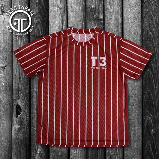 【TRESJAPAN】スパンデックスTシャツ(ボルドーピンストライプ)