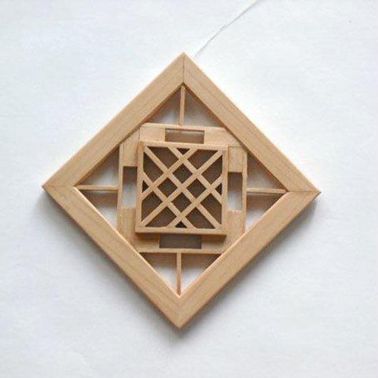 菱を模った組子細工のオーナメント