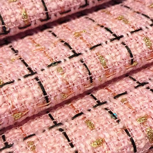 ツイード 生地134 プレイド ピンク