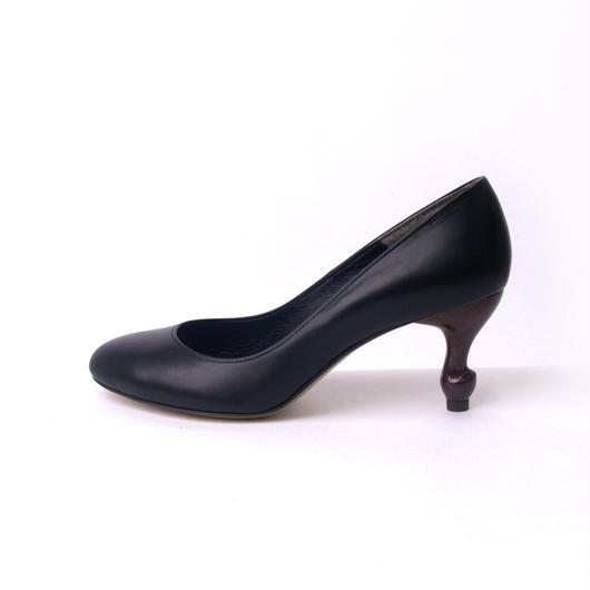 ちゃけちょけ 猫脚7cmヒールパンプス(幅広め) スムース本革ブラック