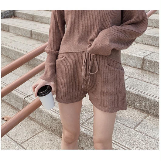 lib knit set up pants / Mocha