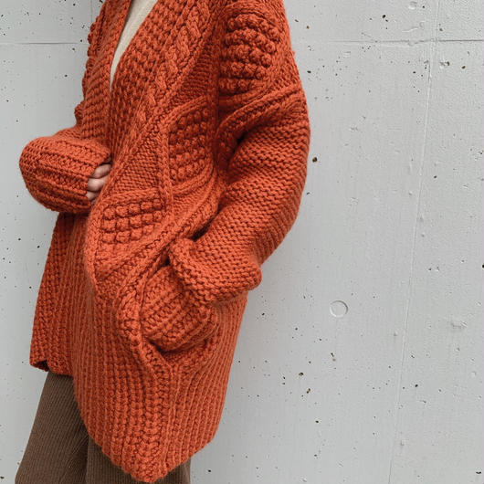 calme × Miske w name  hand knit cardigan / orange
